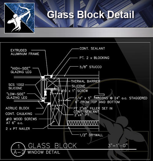 【Free Curtain Wall Details】Glass Block Detail