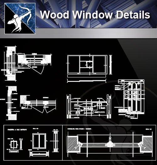 【Free Window Details】Wood Window Details - Architecture Autocad Blocks,CAD Details,CAD Drawings,3D Models,PSD,Vector,Sketchup Download