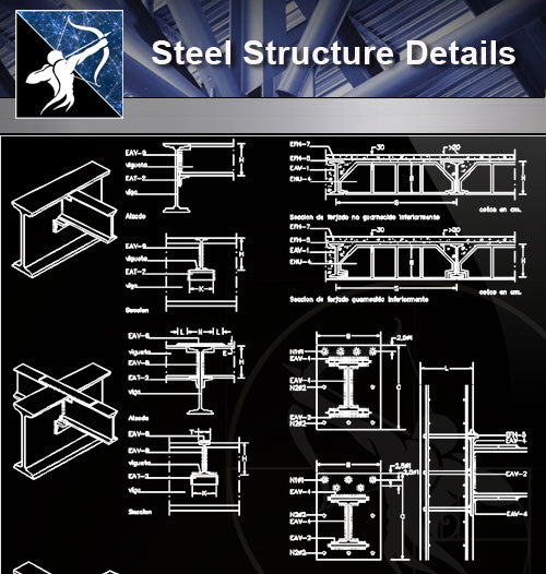 【Free Steel Structure Details】Steel Structure CAD Details 5 - Architecture Autocad Blocks,CAD Details,CAD Drawings,3D Models,PSD,Vector,Sketchup Download