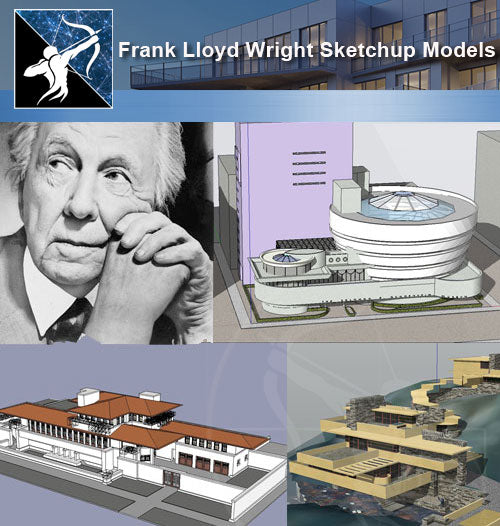 ★Famous Architecture -16 Kinds of  Frank Lloyd Wright Sketchup 3D Models - Architecture Autocad Blocks,CAD Details,CAD Drawings,3D Models,PSD,Vector,Sketchup Download