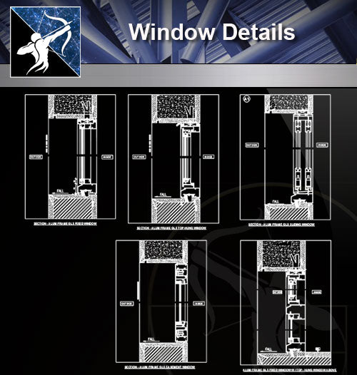 【Window Details】Window CAD Detail - Architecture Autocad Blocks,CAD Details,CAD Drawings,3D Models,PSD,Vector,Sketchup Download