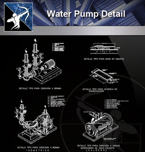 【Sanitations Details】 Water Pump Detail - Architecture Autocad Blocks,CAD Details,CAD Drawings,3D Models,PSD,Vector,Sketchup Download