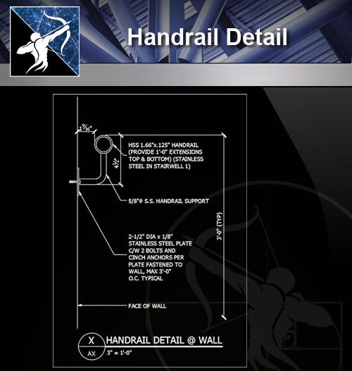 【Free Handrail Details】Handrail Detail - Architecture Autocad Blocks,CAD Details,CAD Drawings,3D Models,PSD,Vector,Sketchup Download