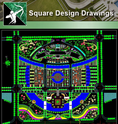 ★Square Design-Landscape CAD Drawings V.1