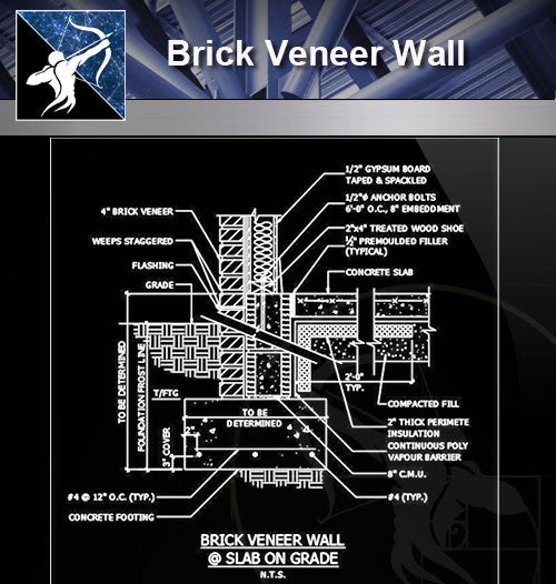 【Free Wall Details】Brick Veneer Wall Details - Architecture Autocad Blocks,CAD Details,CAD Drawings,3D Models,PSD,Vector,Sketchup Download