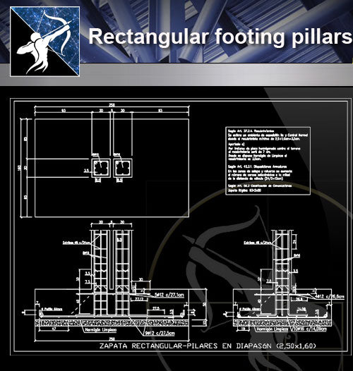 【Architecture Details】Rectangular footing pillars in diapason - Architecture Autocad Blocks,CAD Details,CAD Drawings,3D Models,PSD,Vector,Sketchup Download