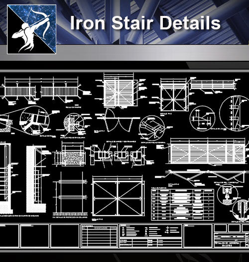 【Stair Details】Iron Stair Details - Architecture Autocad Blocks,CAD Details,CAD Drawings,3D Models,PSD,Vector,Sketchup Download
