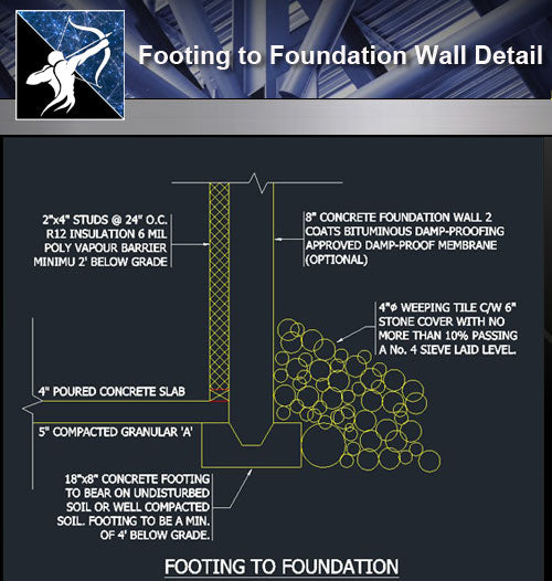 【Free Foundation Details】Footing to Foundation Wall Detail - Architecture Autocad Blocks,CAD Details,CAD Drawings,3D Models,PSD,Vector,Sketchup Download
