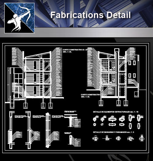 【Architecture Details】Fabrications Detail - Architecture Autocad Blocks,CAD Details,CAD Drawings,3D Models,PSD,Vector,Sketchup Download