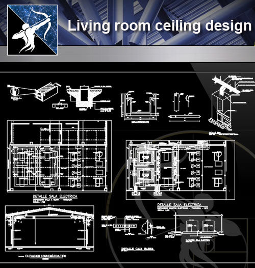 【Architecture Details】Living room ceiling design - Architecture Autocad Blocks,CAD Details,CAD Drawings,3D Models,PSD,Vector,Sketchup Download