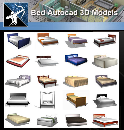 ★AutoCAD 3D Models-Bed Autocad 3D Models - Architecture Autocad Blocks,CAD Details,CAD Drawings,3D Models,PSD,Vector,Sketchup Download