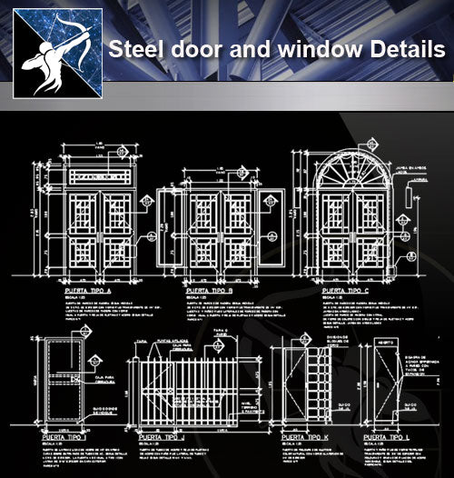 【Steel Structure Details】Steel door and window - Architecture Autocad Blocks,CAD Details,CAD Drawings,3D Models,PSD,Vector,Sketchup Download