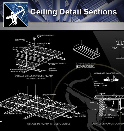 【Architecture Details】Ceiling Detail Sections - Architecture Autocad Blocks,CAD Details,CAD Drawings,3D Models,PSD,Vector,Sketchup Download
