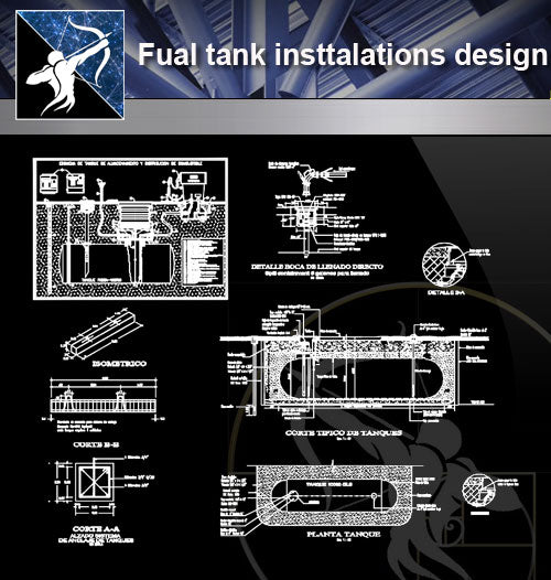 【Architecture Details】Fual tank insttalations design and detail guide in autocad dwg files - Architecture Autocad Blocks,CAD Details,CAD Drawings,3D Models,PSD,Vector,Sketchup Download