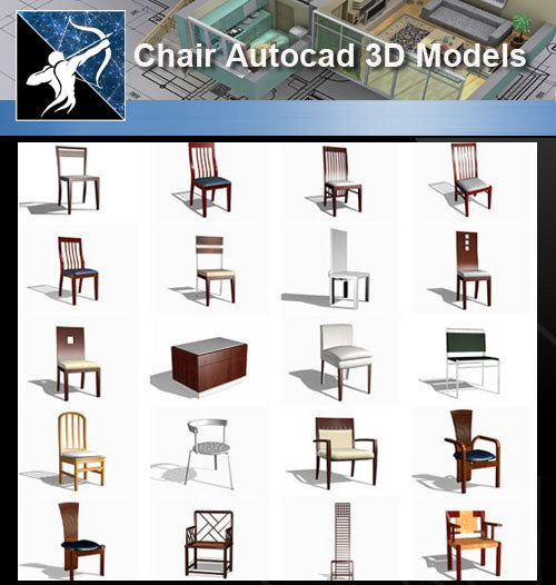 ★AutoCAD 3D Models-Chair Autocad 3D Models - Architecture Autocad Blocks,CAD Details,CAD Drawings,3D Models,PSD,Vector,Sketchup Download
