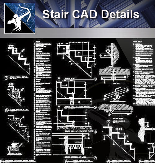 【Stair Details】Stair CAD Details - Architecture Autocad Blocks,CAD Details,CAD Drawings,3D Models,PSD,Vector,Sketchup Download