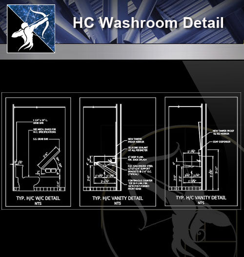 【Sanitations Details】HC Washroom Detail - Architecture Autocad Blocks,CAD Details,CAD Drawings,3D Models,PSD,Vector,Sketchup Download