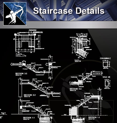 【Stair Details】Staircase design and detail - Architecture Autocad Blocks,CAD Details,CAD Drawings,3D Models,PSD,Vector,Sketchup Download