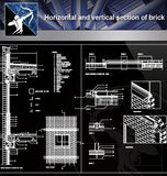【Concrete Details】Horizontal and vertical section of brick - Architecture Autocad Blocks,CAD Details,CAD Drawings,3D Models,PSD,Vector,Sketchup Download