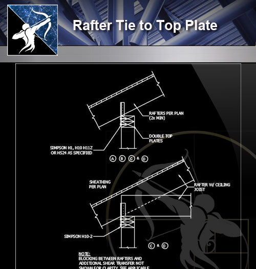 【Free Architecture Details】Rafter Tie to Top Plate - Architecture Autocad Blocks,CAD Details,CAD Drawings,3D Models,PSD,Vector,Sketchup Download