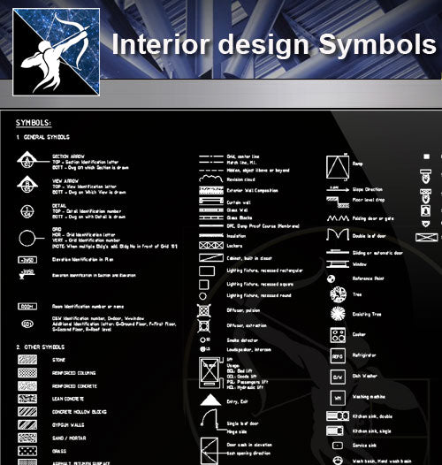 【Free Symbols CAD Blocks】Interior design Symbols - Architecture Autocad Blocks,CAD Details,CAD Drawings,3D Models,PSD,Vector,Sketchup Download