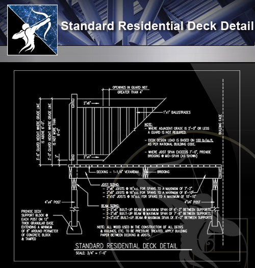 【Free Architecture Details】Standard Residential Deck Detail
