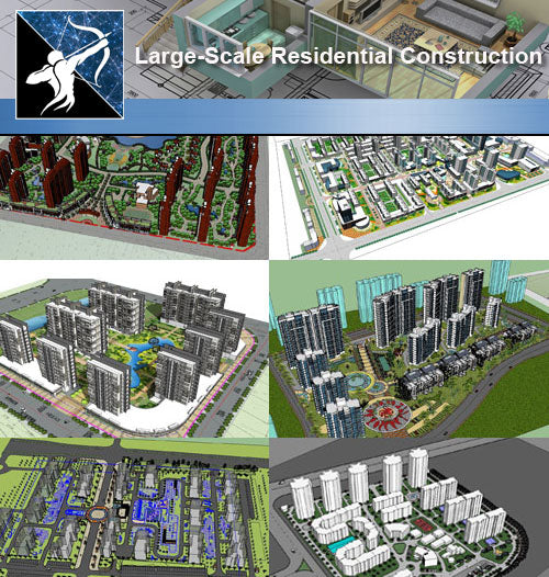 ★Sketchup 3D Models-Large-Scale Residential Construction and Landscape Sketchup Models - Architecture Autocad Blocks,CAD Details,CAD Drawings,3D Models,PSD,Vector,Sketchup Download