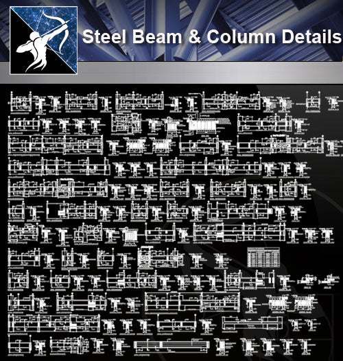 【Free Steel Structure Details】Steel Beam and Column Detaill - Architecture Autocad Blocks,CAD Details,CAD Drawings,3D Models,PSD,Vector,Sketchup Download