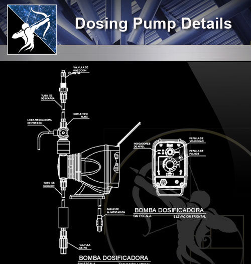 【Sanitations Details】Dosing Pump Details - Architecture Autocad Blocks,CAD Details,CAD Drawings,3D Models,PSD,Vector,Sketchup Download