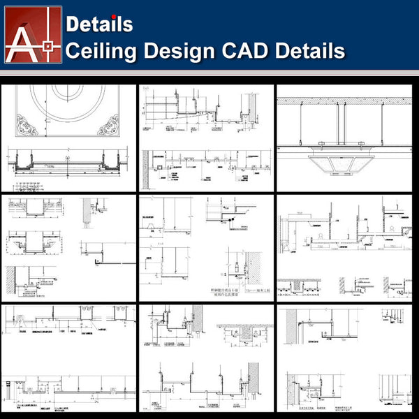 ★【Ceiling Details-Autocad Blocks,details Collections V2】All kinds of Ceiling Details Design CAD Drawings