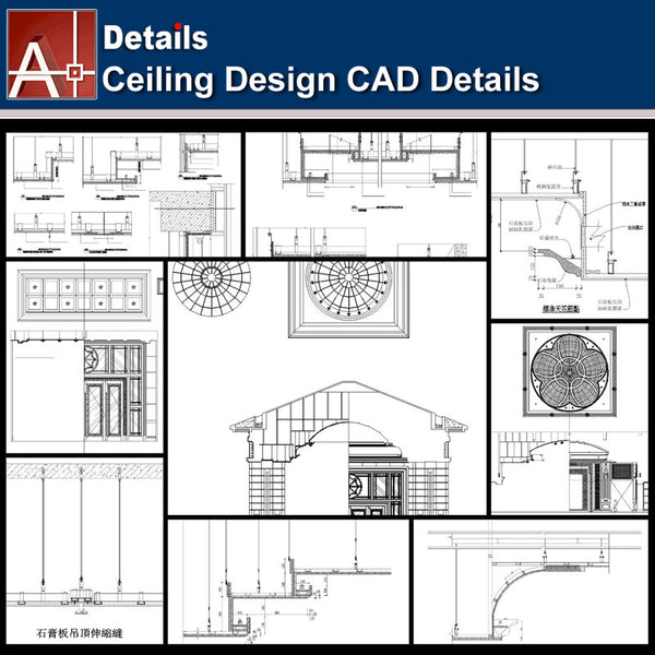 ★【Ceiling Details-Autocad Blocks,details Collections V1】All kinds of Ceiling Details Design CAD Drawings