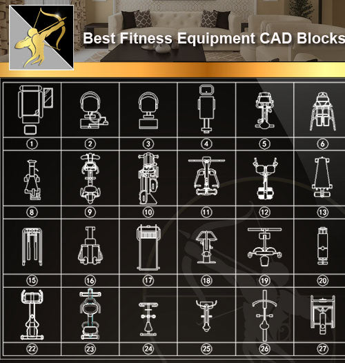 ★Interior Design CAD Blocks -Fitness Equipment,Treadmills,Exercise Bikes,Home Gyms,Exercise Machine Accessories - Architecture Autocad Blocks,CAD Details,CAD Drawings,3D Models,PSD,Vector,Sketchup Download