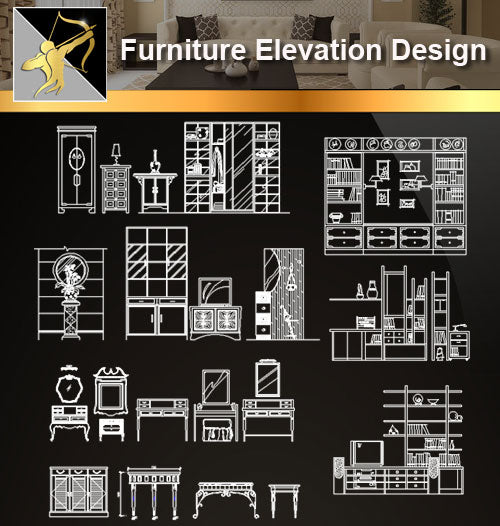 ★Interior Design CAD Blocks -Furniture Elevation Design - Architecture Autocad Blocks,CAD Details,CAD Drawings,3D Models,PSD,Vector,Sketchup Download