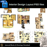 【15 Types of Interior Design Layout Photoshop PSD】V.3