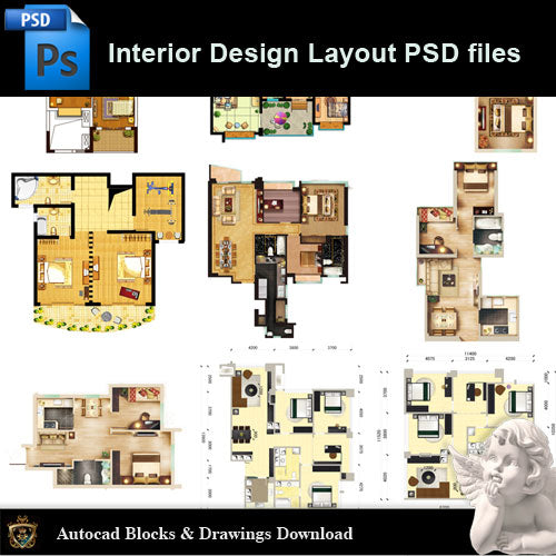 【15 Types of Interior Design Layout Photoshop PSD】V.3 - Architecture Autocad Blocks,CAD Details,CAD Drawings,3D Models,PSD,Vector,Sketchup Download