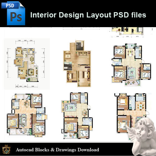 【15 Types of Interior Design Layout Photoshop PSD】 - Architecture Autocad Blocks,CAD Details,CAD Drawings,3D Models,PSD,Vector,Sketchup Download