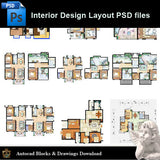 【15 Types of Interior Design Layout Photoshop PSD】V.2