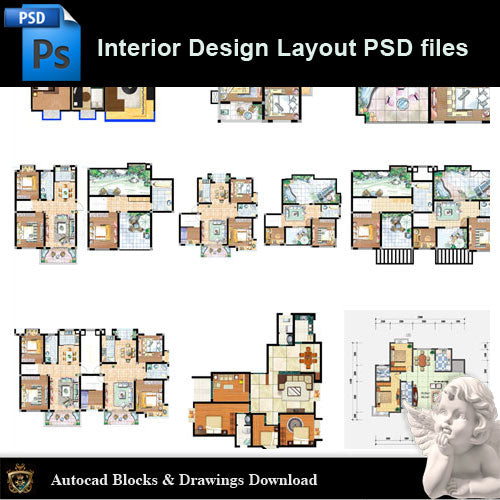 【15 Types of Interior Design Layout Photoshop PSD】V.2 - Architecture Autocad Blocks,CAD Details,CAD Drawings,3D Models,PSD,Vector,Sketchup Download