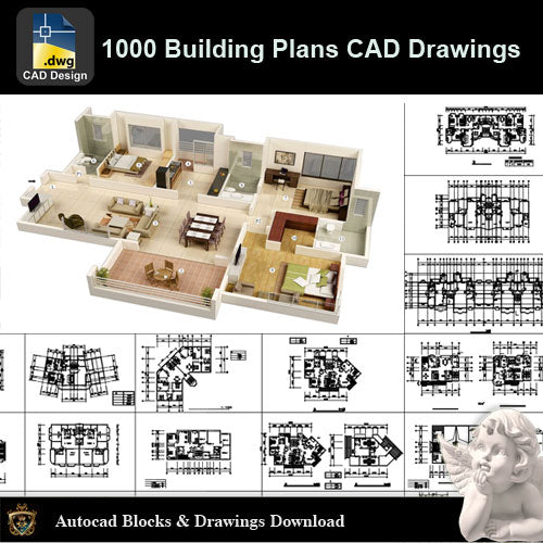 ★【1000 Building Layout Design CAD Drawings Bundle】 - Architecture Autocad Blocks,CAD Details,CAD Drawings,3D Models,PSD,Vector,Sketchup Download