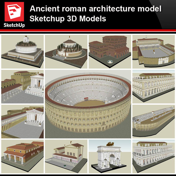 💎【Sketchup Architecture 3D Projects】Ancient roman architecture model- Sketchup 3D Models V1 - Architecture Autocad Blocks,CAD Details,CAD Drawings,3D Models,PSD,Vector,Sketchup Download