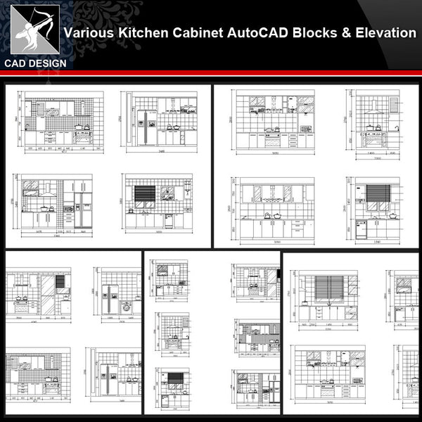 ★【Various Kitchen Cabinet Autocad Blocks & elevation V.1】All kinds of Kitchen Cabinet CAD drawings Bundle