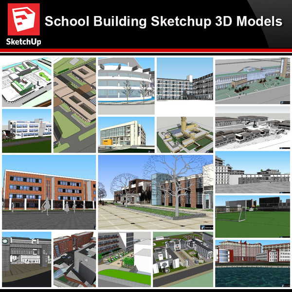 💎【Sketchup Architecture 3D Projects】20 Types of School Design Sketchup 3D Models V8 - Architecture Autocad Blocks,CAD Details,CAD Drawings,3D Models,PSD,Vector,Sketchup Download