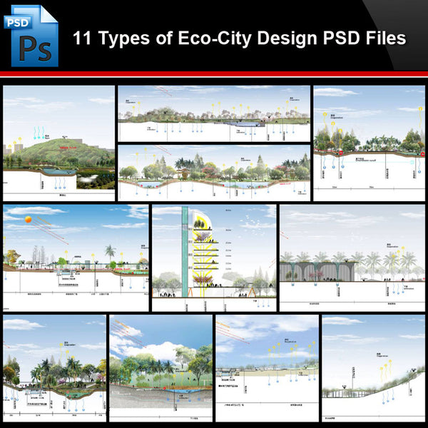 ★Photoshop PSD Files-11 Types of Eco-City Design PSD Files(Total 1.66GB) - Architecture Autocad Blocks,CAD Details,CAD Drawings,3D Models,PSD,Vector,Sketchup Download