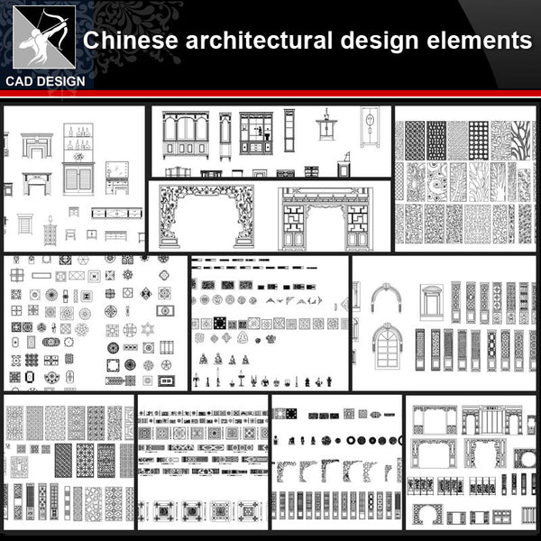 ★【Chinese Architecture Design CAD elements V1】All kinds of Chinese Architectural CAD Drawings Bundle