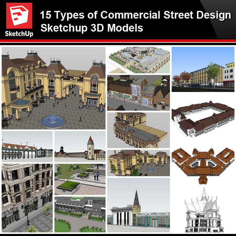 💎【Sketchup Architecture 3D Projects】15 Types of Commercial Street Design Sketchup 3D Models V1