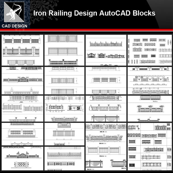 ★【Iron Railing Design Autocad Blocks Collections】All kinds of Forged iron gate CAD Blocks - Architecture Autocad Blocks,CAD Details,CAD Drawings,3D Models,PSD,Vector,Sketchup Download