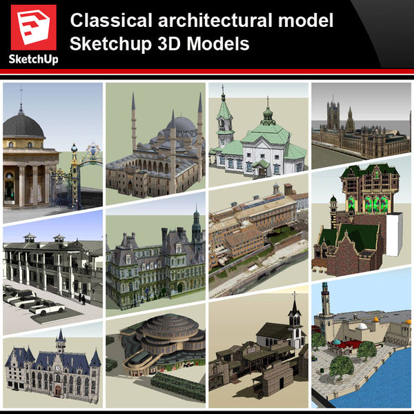 💎【Sketchup Architecture 3D Projects】European Classical Architecture Sketchup 3D Models V2 - Architecture Autocad Blocks,CAD Details,CAD Drawings,3D Models,PSD,Vector,Sketchup Download