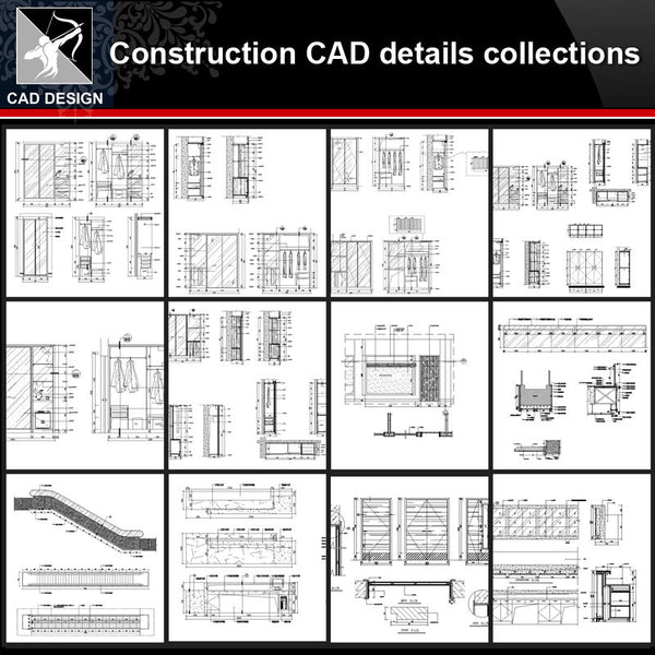 ★【Construction CAD Details Collections】All kinds of Construction CAD Details Bundle - Architecture Autocad Blocks,CAD Details,CAD Drawings,3D Models,PSD,Vector,Sketchup Download