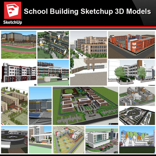 💎【Sketchup Architecture 3D Projects】20 Types of School Design Sketchup 3D Models V3 - Architecture Autocad Blocks,CAD Details,CAD Drawings,3D Models,PSD,Vector,Sketchup Download