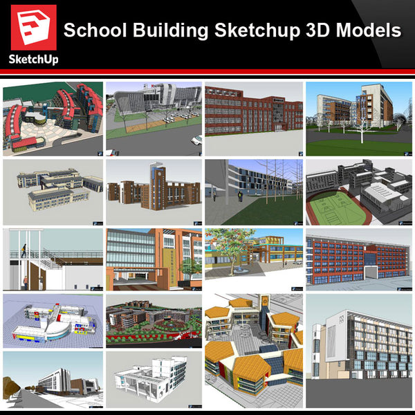 💎【Sketchup Architecture 3D Projects】20 Types of School Design Sketchup 3D Models V2 - Architecture Autocad Blocks,CAD Details,CAD Drawings,3D Models,PSD,Vector,Sketchup Download